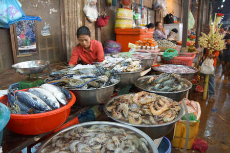 siem: SIEM REAP, CAMBODIA - FEB 16, 2015 - Woman selling fish  in the market of  Siem Reap,  Cambodia