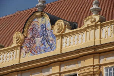benedictine: MELK, AUSTRIA - SEP 7, 2016 - Fresco of Temperance , Baroque Benedictine monastery,   Melk, Austria