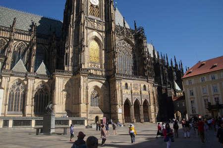 vitus: PRAGUE - SEP 1, 2016 - South tower of  St Vitus Cathedral,  Prague, Czech Republic