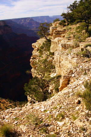 south rim: late afternoon view into the Colorado River gorge on the South Rim Trail,at the Grand Canyon National Park, Arizona Stock Photo