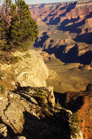Early morning light on eroded ridges above the Colorado River, South Rim, Grand Canyon National Park, Arizona Stock Photo