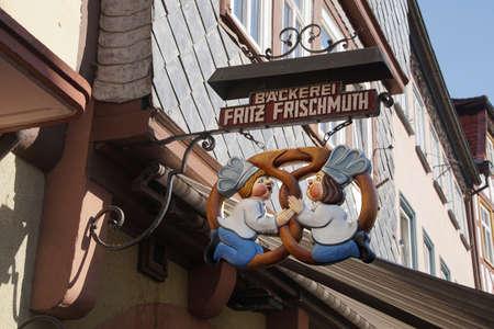 wertheim: WERTHEIM, GERMANY - SEP 13, 2016 - Bakers shop sign on bakery in  Wertheim, Germany