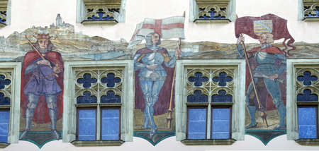 fresco: PASSAU, GERMANY - SEP 8, 2016 - Fresco of knight on Baroque town hall of  Passau, Germany