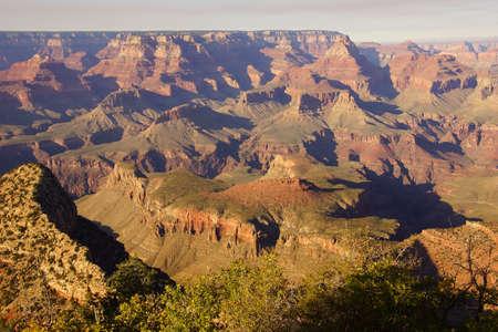 グランド ビュー ポイント、サウスリム、グランドキャニオン国立公園、アリゾナ州全体と、渓谷を表示します。 写真素材