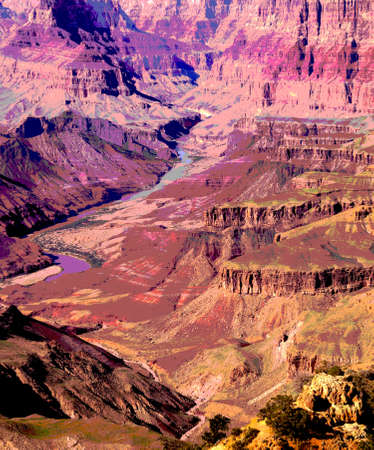 rim: Sheer cliffs along the South Rim, Grand Canyon National Park, Arizona Stock Photo