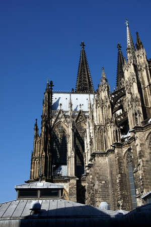 Towers and spires of St. Peters Cathedral in  Cologne, Germany