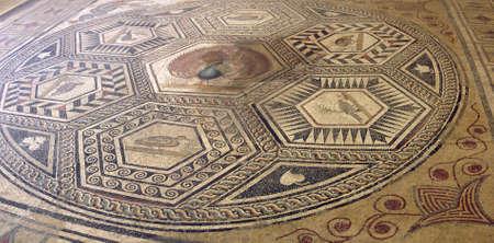 mosaic floor: Mosaic tile floor in ancient Romain villa of Villasse Roman ruins, Vaison la Romaine, France