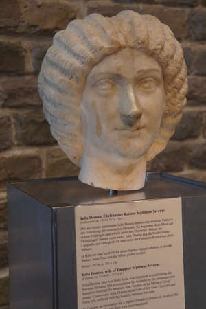 germanic: COLOGNE, GERMANY - SEP 15, 2016 - Bust of Empress Julia Domna, wife of Septimus Severus,  Roman - Germanic Museum,  Cologne, Germany Editorial