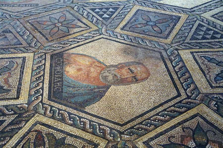 playwright: COLOGNE, GERMANY - SEP 15, 2016 - Mosaic of playwright Sophocles,  Roman - Germanic Museum,  Cologne, Germany Editorial