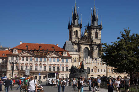 PRAGUE - AUG 31, 2016 - Church of Our Lady before Tyn,  Stare Mesto, Old Town of  Prague, Czech Republic