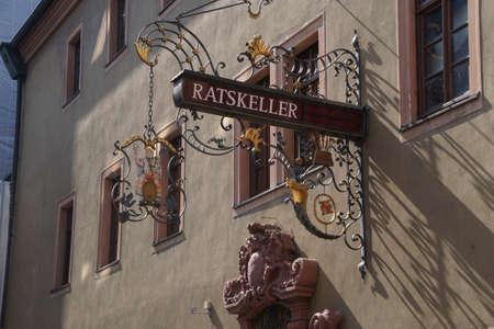sigil: WURZBURG, GERMANY - SEP 12, 2016 - Ratskeller restaurant street sign in  Wurzberg, Germany Editorial