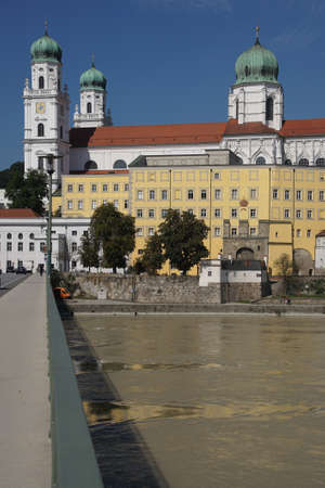 inn: Baroque waterfront of Passau seen from the Inn river, Germany