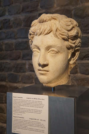 germanic: COLOGNE, GERMANY - SEP 15, 2016 - Bust of Roman Emperor Commodus,  Roman - Germanic Museum,  Cologne, Germany