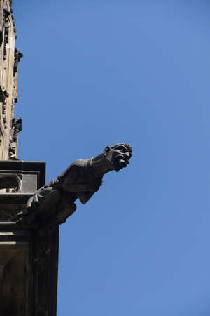 gargouille: Gargoyle on south side of  St Vitus Cathedral,  Prague, Czech Republic