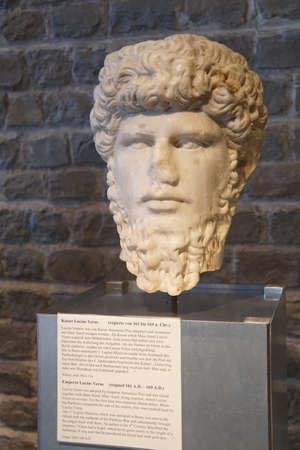 germanic: COLOGNE, GERMANY - SEP 15, 2016 - Bust of Roman Emperor Lucius Verus,  Roman - Germanic Museum,  Cologne, Germany