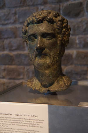 bust: COLOGNE, GERMANY - SEP 15, 2016 - Bust of Roman Emperor Antoninus Pius,  Roman - Germanic Museum,  Cologne, Germany Editorial