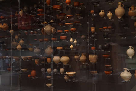 germanic: COLOGNE, GERMANY - SEP 15, 2016 - Amphora, urns and other pottery from ancient Roman times,  Roman - Germanic Museum,  Cologne, Germany Editorial