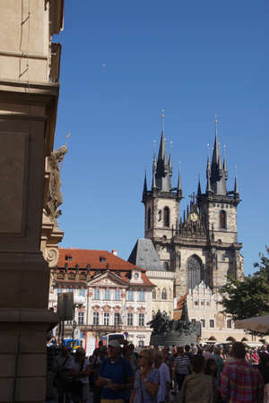 stare mesto: PRAGUE - AUG 31, 2016 - Church of Our Lady before Tyn,  Stare Mesto, Old Town of  Prague, Czech Republic