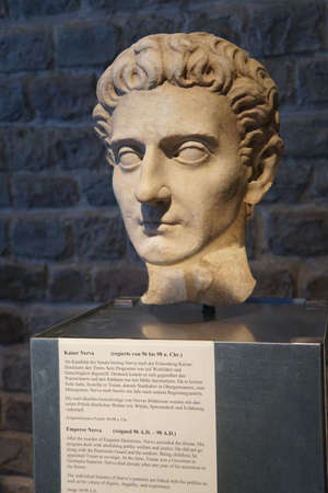germanic: COLOGNE, GERMANY - SEP 15, 2016 - Bust of Roman Emperor Nerva,  Roman - Germanic Museum,  Cologne, Germany