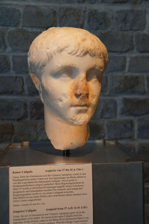 germanic: COLOGNE, GERMANY - SEP 15, 2016 - Bust of Roman Emperor Caligula,  Roman - Germanic Museum,  Cologne, Germany