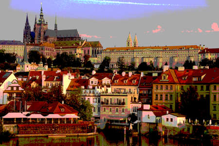Prague Hradcany castle and St Vitus Cathedral in early morning  on Vltava River in  Prague, Czech Republic 版權商用圖片