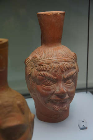 germanic: COLOGNE, GERMANY - SEP 15, 2016 - Head shaped pitchers from ancient Roman times,  Roman - Germanic Museum,  Cologne, Germany