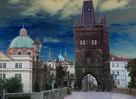 Early morning on medieval Charles Bridge  on Vltava River in  Prague, Czech Republic