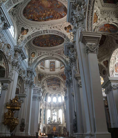 saint stephen cathedral: PASSAU, GERMANY - SEP 8, 2016 - Baroque ceiling frescoes of St. Stephens cathedral in  Passau, Germany Editorial