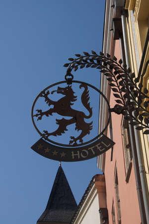 sigil: PASSAU, GERMANY - SEP 8, 2016 - Hotel sign of standing wolf,  Passau, Germany