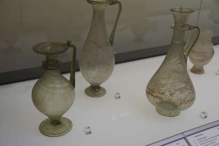 cologne: COLOGNE, GERMANY - SEP 15, 2016 - Ancient Roman glass vases,  Roman - Germanic Museum,  Cologne, Germany