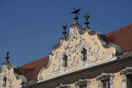 rococo: WURZBURG, GERMANY - SEP 12, 2016 - Rococo decorations on front of Falcon House, Wurzberg, Germany