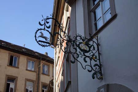 sigil: BAMBERG, GERMANY - SEP 11, 2016 - Unicorn sign in  Bamberg, Germany