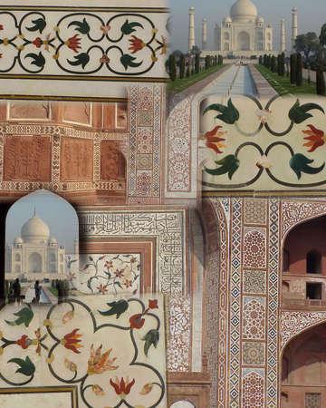 inlay: Montage -   Taj Mahal -mosaics and inlay detail   india,asia,agra