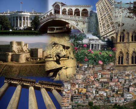 Montage - World landmarks - White House, Lebanon, Syria, prague Banco de Imagens