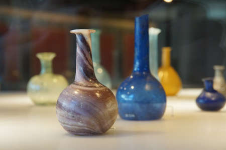 germanic: COLOGNE, GERMANY - SEP 15, 2016 - Ancient Roman glass vases,  Roman - Germanic Museum,  Cologne, Germany