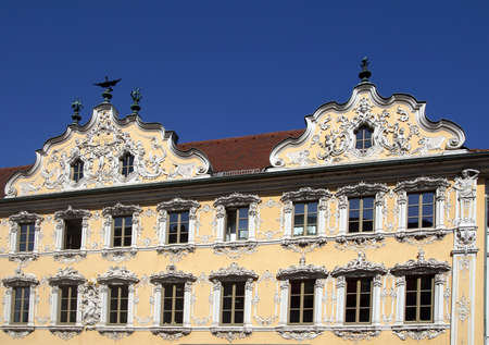 WURZBURG, GERMANY - SEP 12, 2016 - Rococo decorations on front of Falcon House, Wurzberg, Germany