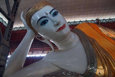 Reclining buddha,Chauk Htat Gyi Pagoda, Yangon (Rangoon),  Myanmar (Burma) Editorial