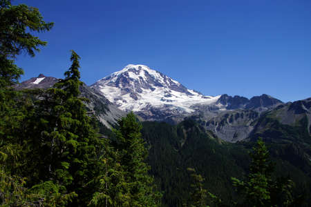 icefall: Mowich Face and Sunset Ridge, Mount Rainier National Park Stock Photo