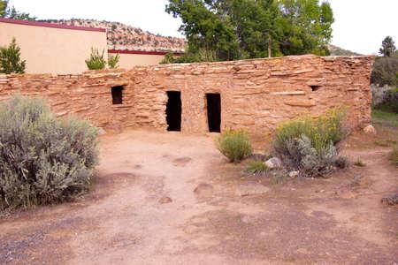 anasazi ruins: Exterior of Anasazi Pueblo,   circa1050 - 120 CE,  Anasazi State Park Museum,  , Boulder, Utah