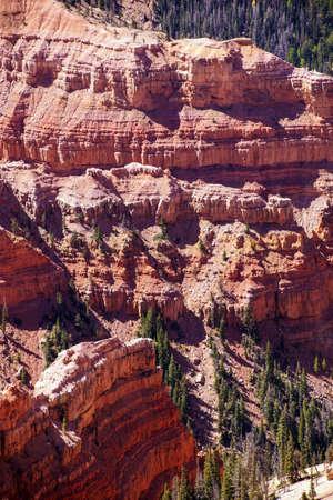 chessman: Chessmen Ridge Overlook, Fantasticly eroded red Navajo sandstone pinnacles and cliffs Cedar Breaks National Monument, Utah Stock Photo