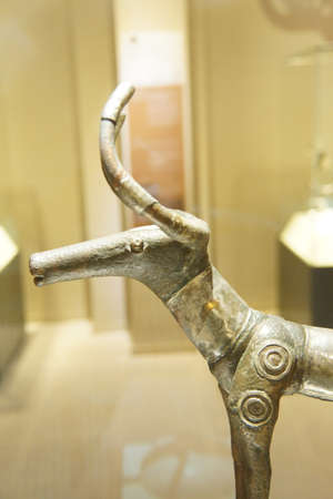 ANKARA, TURKEY - MAY 21, 2014 -  Hittite Deer sculptures,  from  Alaca, Corum, 1400 BCE Museum of Anatolian Civilization, Ankara, Turkey