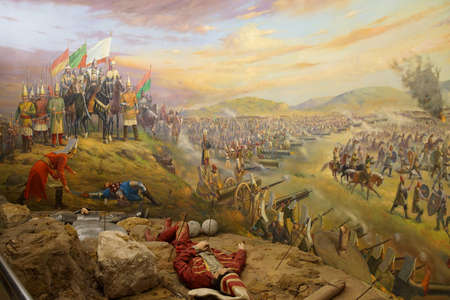 ISTANBUL, TURKEY - MAY 16, 2014 -  Battle of Mohacs, 1526,  Ottoman victory over Hungary, led by Suleiman the Magnificent,  , Askeri Museum, Istanbul,  in Istanbul, Turkey