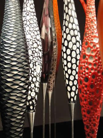 blown: GENEVA, SWITZERLAND - MAR 4, 2012 -  Slender blown glass designs  in bright colors Geneva, Switzerland