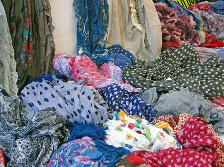 Colorful scarfs and kerchiefs  at the weekly market in Vaison la Romaine, France. Stock Photo