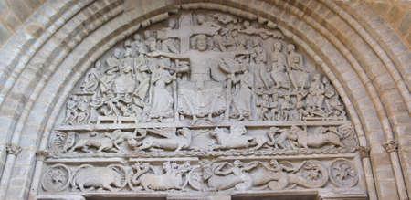 Tympanum sculpture of the Last Judgment, Abbey Church of St. Pierre, Beaulieu sur Dordogne, France