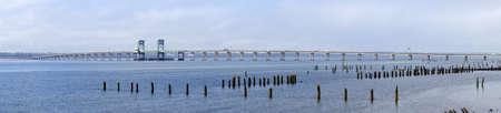 youngs: Panorama, drawbridge over Youngs Bay, near Astoria, Oregon