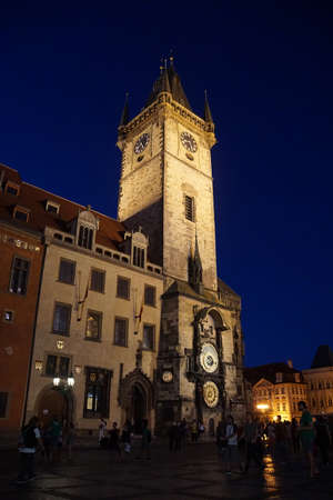 stare mesto: Nighttime, Old Town Hall with astronomical clock, Stare Mesto, Old Town of  Prague, Czech Republic