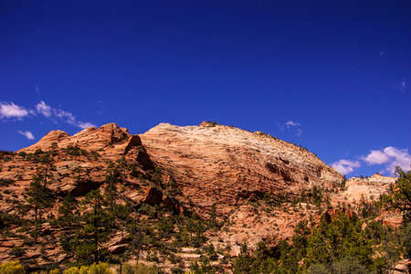 hillsides: Patterns in the sandstone strata of hillsides in Zion National Park, Utah Editorial