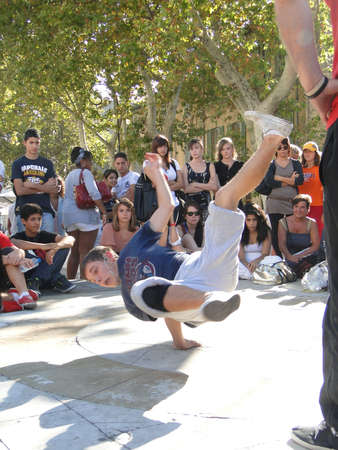 AVIGNON, FRANCE - OCT 1, 2011 - Hip-Hop breakdancers compete in pairs, Palace of the Popes,  on Oct 1, 2011 in Avignon, France