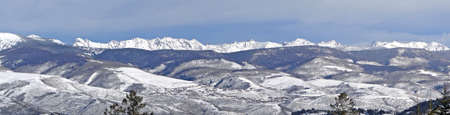 gore: Panorama, Winter snow on the craggy mountains of the Gore Range of the Rocky Mountains,Colorado